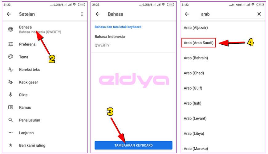 membuat tulisan arab di keyboard android