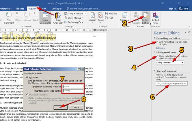 cara mengunci dokumen word