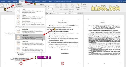 membuat nomer halaman dari halaman 2