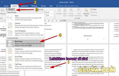 cara membuat dokumen tegak dan tumbang